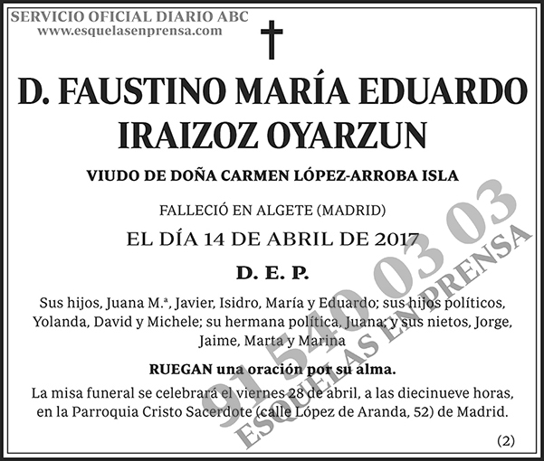 Faustino María Eduardo Iraizoz Oyarzun